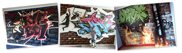 Ejemplos de graffiti de nombre con fondo urbano