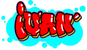 Diseño de graffiti de nombre Iván con estilo de letra redondo