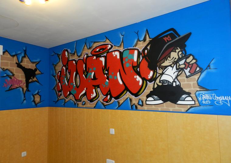 Mi nombre en graffiti habitaci n con graffiti decoraci n juvenil - Graffitis en paredes ...