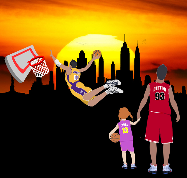 Diseño de graffiti de baloncesto con nombre de Ángel 3