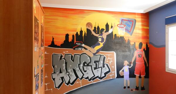 Graffiti mural de baloncesto