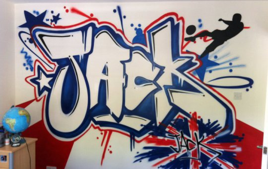 Fotografía de graffiti en habitación juvenil con nombre Jack