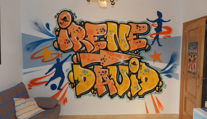 Graffiti de nombre: Irene y David